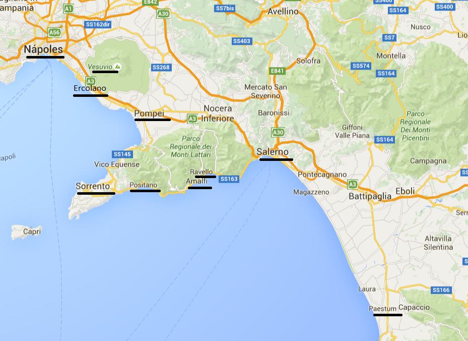 Costa Amalfitana mapa